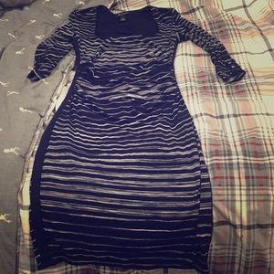 Bodycon black and white striped dress